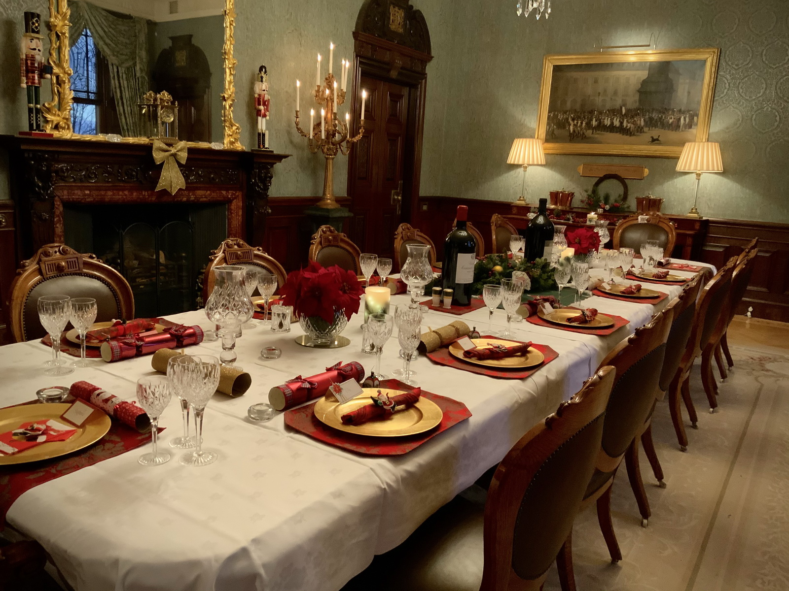 Auchterarder House, dining room set for Christmas