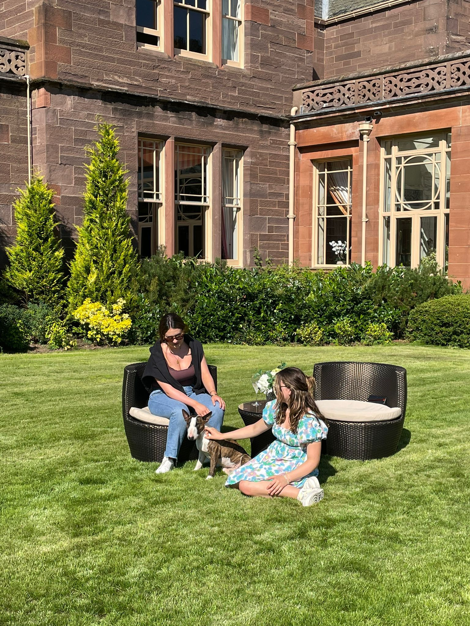 Auchterarder House - playing with the dog