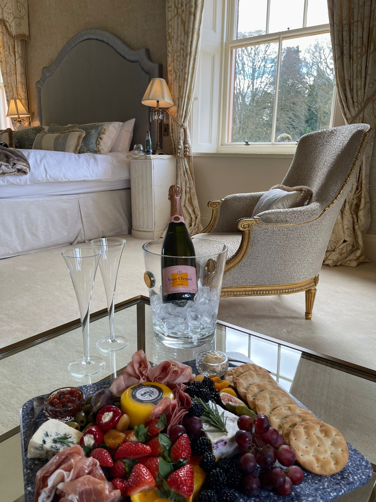 Auchterarder House - champagne in the master bedroom
