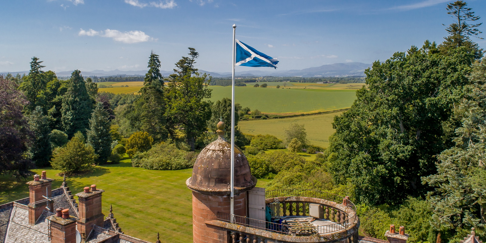 Auchterarder House with Scottish flag