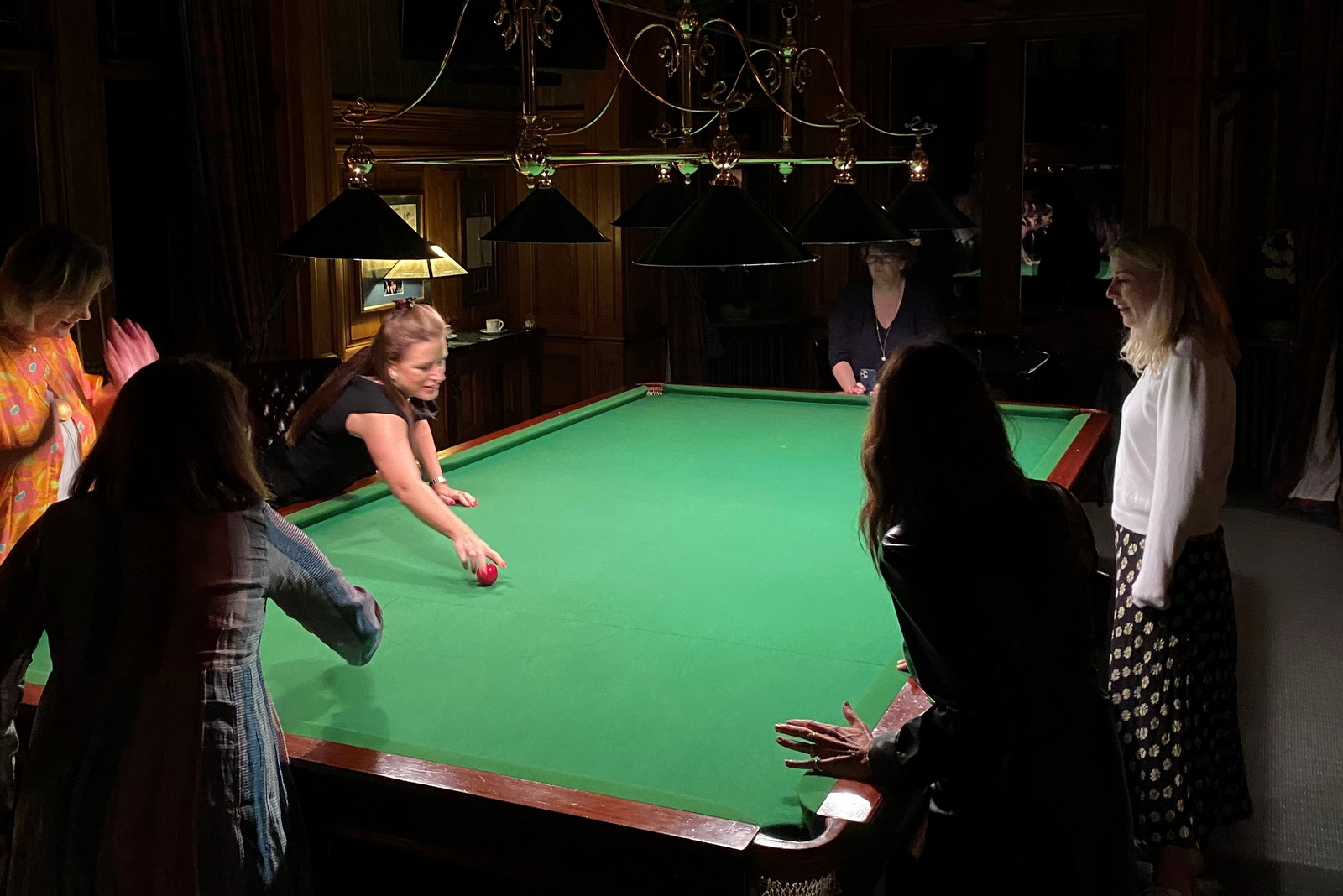 Playing billiards at Auchterarder House